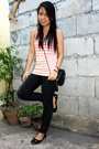 Orange-top-black-purse-black-pants-black-shoes