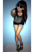 quiapo glasses - ThriftedDIY shirt - Black Tube Top - ThriftedDIY shorts - Peopl