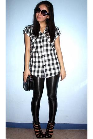 DV top - Online Shop leggings - Forever21 shoes - thrifted purse - DV glasses