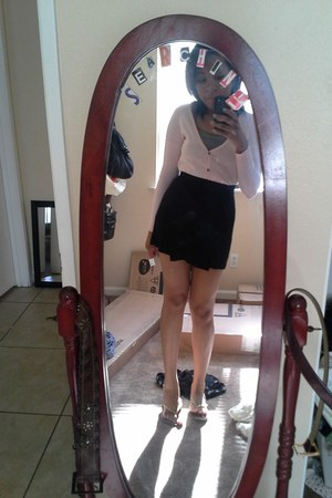 black herve leger skirt - top - bubble gum pink Urban Outfitters cardigan
