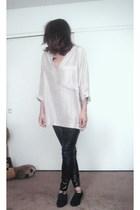 beige vintage blouse - black leggings - black vintage shoes