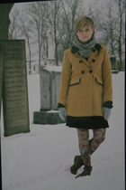 mustard modcloth coat - black Ebay dress - brown peddlars mall boots - Accessori