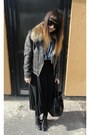 Dark-brown-luella-jacket-black-secondhand-skirt