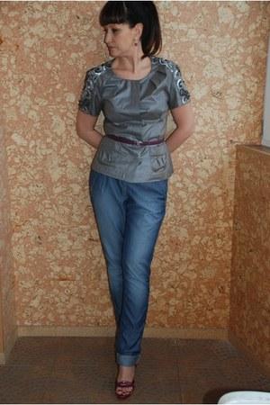 blue slim denim MARC CAIN jeans - magenta Casadei heels - heather gray no brand