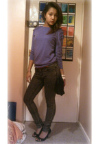 purple Topshop sweater - black Newlook shoes - white Miss Selfridges accessories