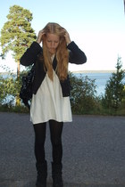 black Zara jacket - white Mango dress - black Uggs shoes - black malta accessori