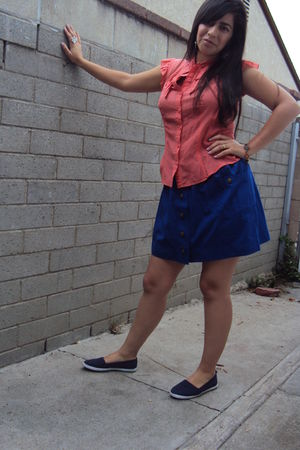 Forever 21 blouse - blue Forever 21 skirt - blue shoes - bracelet - Forever 21 e