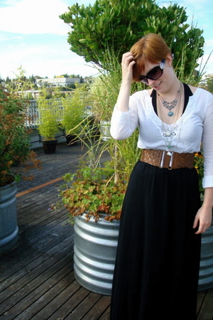 white hollister shirt - black Forever 21 dress - brown H&M belt
