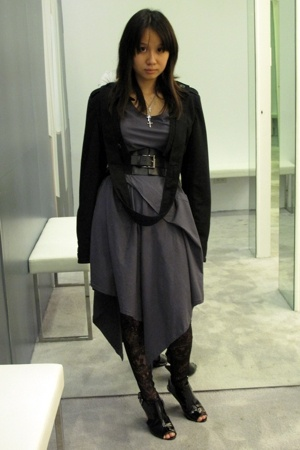 Kaiser blazer - dress - Topshop tights - belt - Forever21 shoes - necklace