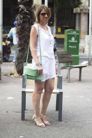 white Tienda local dress - chartreuse Urbaks bag - beige Mango heels