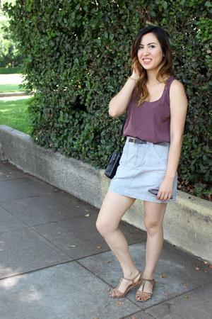 light blue denim madewell skirt - brown Dolce Vita sandals - amethyst asos top