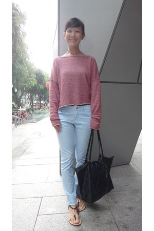 pink knit wool La Nouveau Mode jumper - light blue giordano jeans
