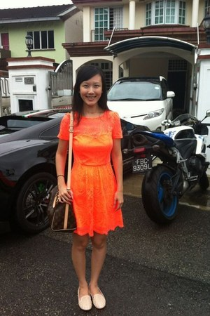 orange lace dress Topshop dress - 30 speedy Louis Vuitton bag - nude rubi flats