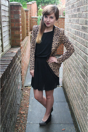 black jolie moi dress - burnt orange jolie moi blazer - black OASAP wedges