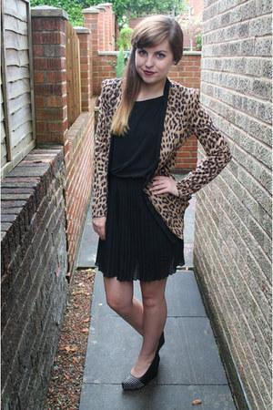 black jolie moi dress - burnt orange jolie moi blazer - black OASAP wedges