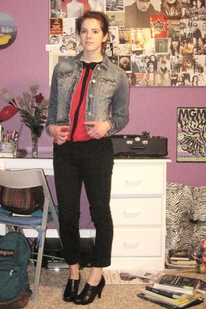 navy jean jacket american eagle outfitters jacket - red Lee Folio top