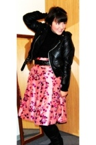 Express via Ebay skirt - Bona Drag jacket - forever 21 shirt - Steve Madden boot