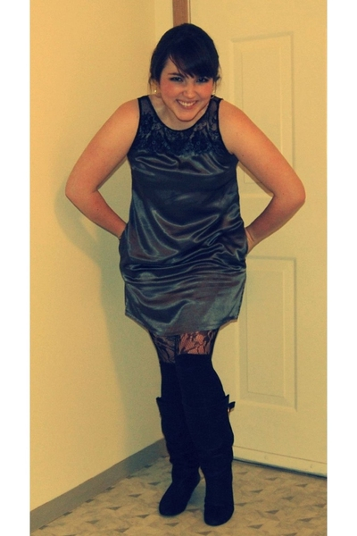Forever21 dress - Forever21 tights - Target socks - Steve Madden boots