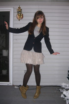 blue Larry Levine blazer - gray so t-shirt - pink H&M skirt - brown Simply Vera