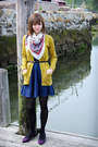 Navy-polka-dotted-coincidence-chance-dress-black-tights-white-scarf