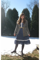 blue dress - gray Forever 21 sweater - gray Apt 9 tights - brown Pineapple shoes