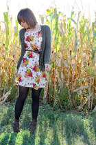 ivory floral Tea n Rose dress - brown xhilaration boots - black tights