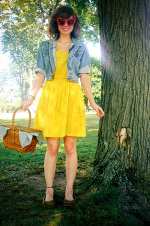 yellow Delias dress - blue thrifted denim Gap jacket