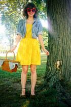 yellow Delias dress - blue thrifted denim Gap jacket