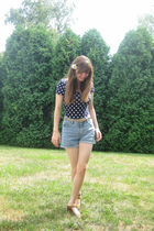 blue Forever 21 top - blue No Excuses shorts - beige belt - brown Rialto Comfort
