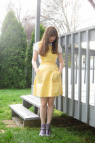 yellow Fashion Seal Uniforms dress - white H&M shirt - purple socks - black Cand