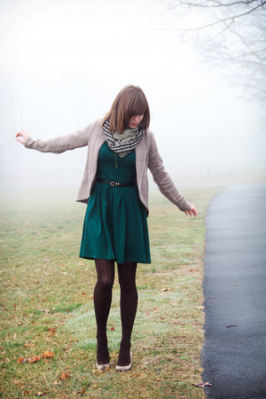 beige H&M cardigan - forest green asos dress