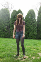 black Self Esteem shirt - blue so shorts - gray Apt 9 tights - brown payless sho