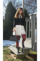black Take out sweater - white Forever 21 dress - red modcloth tights - black BC