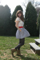 white polka dotted H&M shirt - beige Forever 21 boots - gray Apt 9 tights