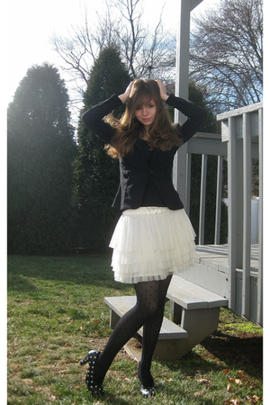 black iz byer california blazer - black jockey shirt - white H&M skirt - black A