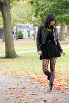 black BC footwear boots - black leather H&M jacket - black dotted gypsy tights
