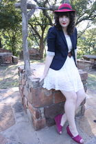 white Forever 21 dress - blue JCrew blazer - red TOMS shoes - red vintage hat -