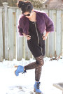 Blue-glitter-shoes-l-b-boots-black-stitches-dress-purple-faux-fur-forever-21