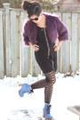 Blue-glitter-shoes-l-b-boots-black-stitches-dress-purple-faux-fur-forever-21