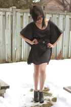 black winged dress dress - black belt - black tick wedges Jeffrey Campbell wedge