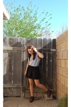 American Apparel t-shirt - DIY skirt skirt - partners shoes