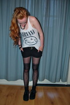 white nirvana H&M top - black creepers Underground shoes