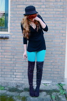 black thigh high Tango boots - black Tally Weijl hat