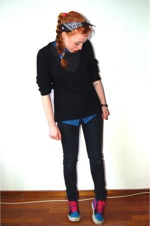 navy denim new look shirt - black skinny Primark jeans - black knitted sweater
