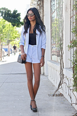 light blue outerwear Missguided blazer