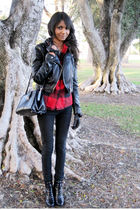 black vintage bag - black Urban Outfitters jeans - black Nine West boots - black