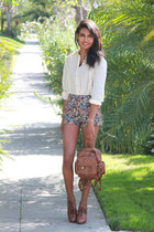 cream lace shoulder Persun Mall blouse - dark green floral forward to all shorts