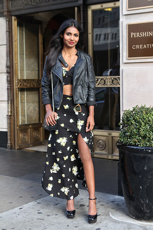 black leather Black Swan jacket - black floral Motel Rocks skirt