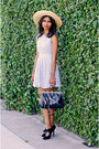 Periwinkle-lace-dress-dress-bronze-bow-hat-hat-black-black-luluscom-bag