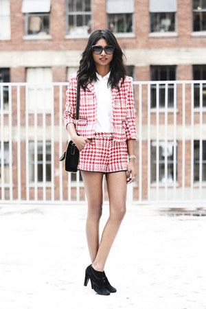 brick red houndstooth asos suit